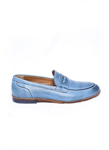 Wessi %100 Deri Loafer Ayakkabı Mavi